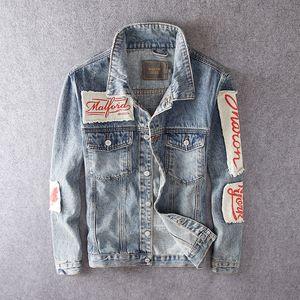 Fashion Streetwear Men Jackets Retro Blue Patchwork Designer Hip Hop Jackets Men Punk Style Denim Coats Printed Biker Jackets