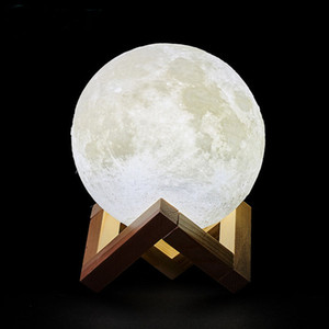 3D Print USB rechargeable Lune Lampe LED Night Light Creative Interrupteur tactile Moon Light lampe de bureau pour chambre à coucher Décoration Lumières de Noël