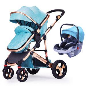 High Landscape Baby Stroller 3 In 1 with Car Safety Seat Sleeping Basket Shock Absorber Newborn Cradle Travel Joggy Stroller