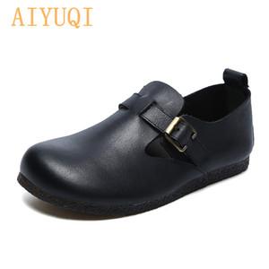 Zapatos planos de las mujeres AIYUQI 2020 mujeres del resorte Nuevo Retro suave de los zapatos ocasionales del cuero genuino Sole Single Mom
