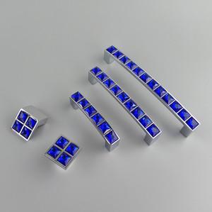 New Crystal Glass Series Diamond Dark Blue Furniture Handle Door Dresser Drawer Wardrobe Kitchen Cabinets Cupboard Dresser Pull Door Knobs