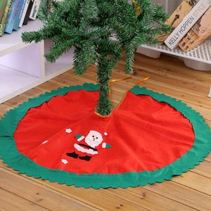 60 / 90cm Ruffle d'arbre de Noël Jupe Arbre de Noël non tissé jupe rouge d'arbre de Noël Ornement Père Noël Imprimer Noël Arbres Jupe DBC VT1090
