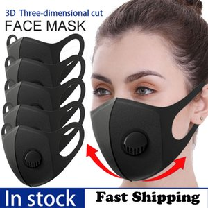 Black Sponge Breathable Valve Mask PM2.5 Dust can be Washed Reused Respirator Mask with Filter