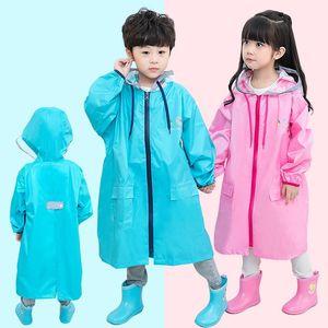 Bambini EVA Rainwear cappuccio Ragazzi Ragazze esterna per bambini Giacca a vento impermeabile Touring Trekking Impermeabili con riflettente banda
