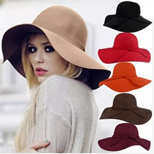 Cap B942 ilmek İngiltere tarzı Retro Bayanlar Kadınlar açık güneş şapkası Yün Keçe Fedora Floppy Cloche Geniş Brim şapka
