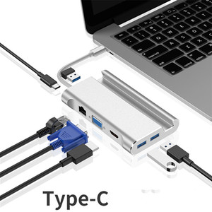7-en-1 Tipo C concentrador USB C a RJ45 HDMI VGA Puertos USB Hub con TF SD Reader para MacBook Pro de Samsung Huawei