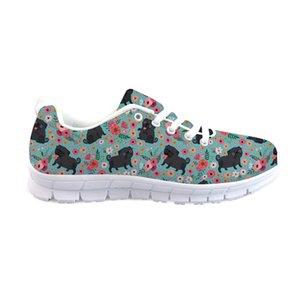 THIKIN Netter Pug und Blumen-Druck-Lace-Up-Turnschuhe Frauen Tägliche Schuhe Ineinander greifen Schuhe Mädchen Wohnungen der neuen Art-Design Kundenspezifische Muster