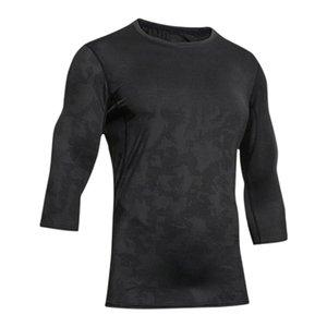 Delicato Uomini Esercizio magliette di secchezza rapido Trainning uomini dimagriscono fitness Tops Esecuzione elastico Jacquard Maglia di giunzione Camicie T-shir