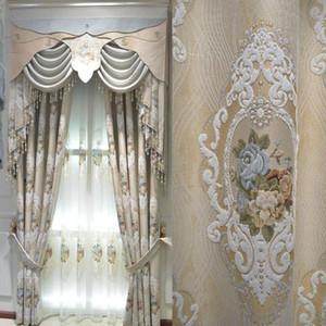 Cortinas feitas sob encomenda europeu de alta precisão jacquard chenille tecido bege pano grosso cortina blackout valance cortinas de tule B497
