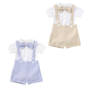 الاطفال ملابس الأولاد ملابس الأطفال شهم القوس رومبير + حمالة السراويل مجموعات 2020 الصيف ملابس الطفل مجموعات C525