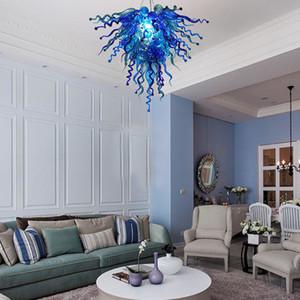 Lustres modernos de teto LED Lighting Living Room Villa Interior Decor Azul Blown lustres de vidro Pingente luminárias Home Decor