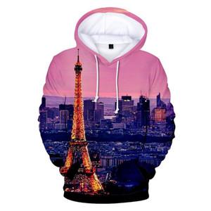 La moda de París Torre Eiffel impreso deporte 3d sudaderas con capucha, hombres, mujeres con capucha de manga larga tapa ocasional unisex 3D sudadera