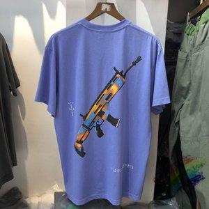 두꺼운 천문 트래비스 ScoGun 인쇄 티셔츠 남성 여성 대형 Astroworld 빈티지 묻은 T 셔츠의 남성을 씻어