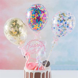 5inch Confetti Balloon Cake Topper Decoration with Straw Ribbon Table Baby Shower One Birthday Wedding Party Balloon Topper Free Shipping