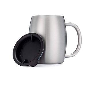 Tazas de cerveza de café de acero inoxidable con tapa a prueba de derrames Vaso con taza de café aislado de doble pared con aislamiento de café con asa
