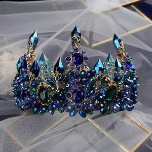 Rhinestone Tiara Hairbands Verdes Cabelos Bavoen Brides Oversize barroco azul Royal Crown Headpiece Retro Wedding Y200409 Jóias
