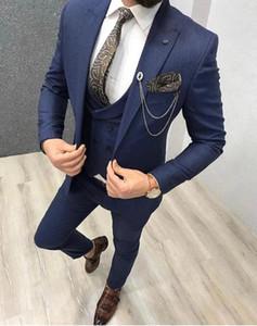 Custom-made Peak Lapel Groomsmen One Button Groom Tuxedos Men Suits Wedding Prom Dinner Best Man Blazer(Jacket+Pants+Tie+Vest) W72