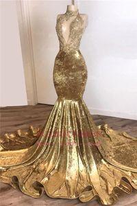 Sexy Gold Русалка Пром платья African High Neck Открыть Назад Плюс Размер Evenig платье Дешевые Формальные партии платья невесты BC3664
