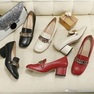 Classic Mid heeled boat shoes luxury Designer leather Occupation high heels Shoes Round head Metal chain Coarse heel woman Dress shoes 34-42