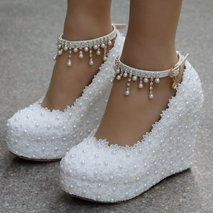 Crystal Queen White Wedges Wedding Pumps Sweet White Flower Lace Pearl Platform Pump Shoes Bride Dress High Heels Y200702