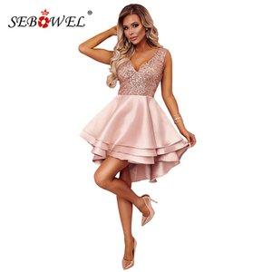 SEBOWEL Sparkle Sexy Paillettes multi strato Skater Party Dress Donna Glitter paillettes senza maniche Deep V Night Club Mini abiti