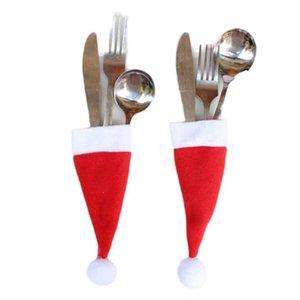 1pc Natal decorativa Louça, Faca, Garfo Set Titular Partido Festival Xmas Mini ferramenta de armazenamento Hat ornamento do feriado do Natal