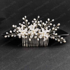 Trendy Handmade Faux Pearl Flower Shape Hair Comb Headband for Women Tiara Headpeice Bride Wedding Hair Jewelry Accrssories