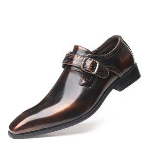 Klassische formelle Schuhe Freizeitschuhe Herren Double Monk Strap Schnalle Leder Oxford spitz Oxford Schuhe große Größe