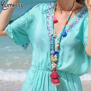 Yumfeel New Bohemian Boho Necklace Beach Jewelry Handmade Natural Shell Stone Crystal Beaded Long Tassel Necklace Women