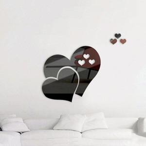 Espelho Coração amor Tiles Wall Sticker Stick do decalque Início Quarto Sala Decor Art
