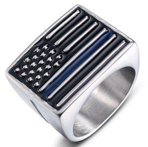 Mode homme en acier inoxydable 316L US Flag Black Ring Accent émail titane acier Casted Bijoux Bague pour le genre classique Antique Punk