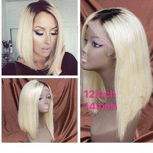 Blonde Blonde Black Ombre Short Bob Synthetic lace front wigs High Temperature Resistant Fiber For Black Women