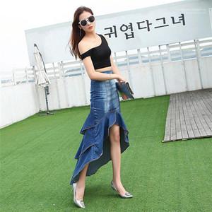 Tasarımcı Jeans Etek Moda Düzensiz Kasetli Büyük Hem Denim Fishtail Etek Casual Bayan Yaz Denizkızı Womens