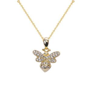100% autêntico sólido 925 esterlina senhoras senhoras jóias 18k amarelo chapeamento de ouro abelha pedra colar 5 pcs / lote