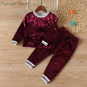 Humor Bear 2020 Fashion Children's Clothes Suit Autumn Winter Stripe Velvet Long-sleeved Top+ Pants Toddler Christmas Outfits