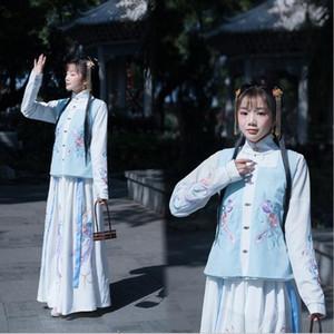 3-piece rivestimento superiore colletto alla coreana di stile flower + skirt + giubbotto ad alta qualità delle prestazioni epoca classica cucitura manuale fase hanfu ingegno