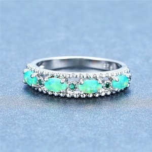 Boho Petit Mignon Rond Ovale Anneau 925 mariage en argent sterling Bagues de femmes Blanc Bleu Vert Opale de feu Anneau de pierre