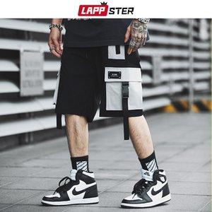 LAPPSTER Erkekler Streetwear Renk Blok Kargo Şort 2019 Yaz Hip Hop Şort Erkekler Koşucular Polyester Sweatshorts Kemer Haki