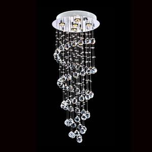 Modern K9 Crystal Spiral Raindrop Chandelier Lighting Lampada da soffitto a LED a soffitto a soffitto Apparecchio a sospensione per sala da pranzo Camera da letto Soggiorno
