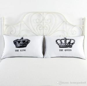 Beyaz yastık kılıfı sıcak kişilik beyaz çift yastık kral kraliçe taç desenli çeşitli yatak çifti seviyorum