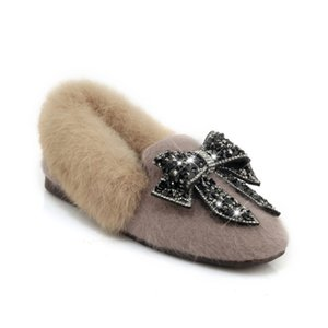 SWYIVY 30 44 Frau Pelz Loafers Schuhe Rhinestone-Bogen 2018 Auutmn Winter-Samt-Pelz-warme Female verursachende Schuhe Bequeme Winterstiefel
