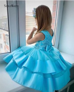 Blue Cute Baby Girls Birthday Party Dresses with Bow Knee Length Kids Clothes Children Gown for Special Occasion