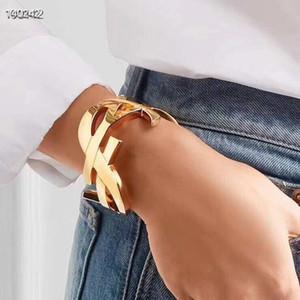 مصمم Y L العلامة التجارية سوار الذهب خمر هوب كبير أساور بلينغ بلينغ مجوهرات النساء أزياء الزفاف سيدة فتاة (لا مربع)