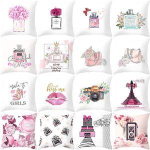 Parfüm Şişesi Baskılı Yastık Kılıfı 45x45cm Çiçekler Parfüm Şişeleri Yumuşak Şeftali Cilt Koltuk Yastık Kılıfı Valentine Günü Yastık