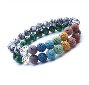 Дерево жизни 8мм Black Lava Stone Beads Ароматерапия Эфирное масло Диффузор Браслет Йога Strand Jewelry