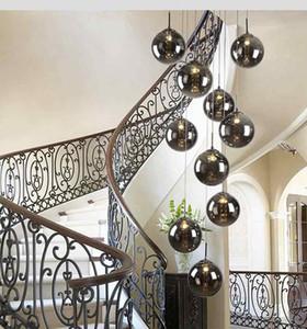 Escalera moderna iluminación de la sala de estar larga bola de cristal candelabros personalidad creativa Nordic magic beans led chandelier