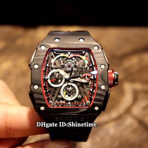 Mejor Edición RM 50-03 / 01 de McLaren F1 dial esquelético automático RM50-03 mecánica del reloj para hombre Negro NTPT Todos los relojes de goma de la caja de fibra de carbono