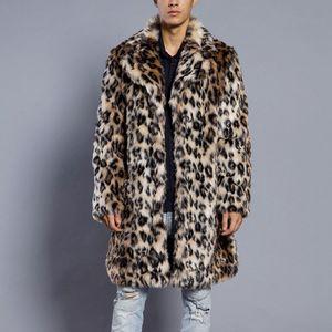 Мужская зимняя куртка Leopard Мужчины теплый толстый меховой воротник куртки пальто из искусственного меха Parka Верхняя одежда Кардиган Искусственные Куртки Пальто Parka Мужчины