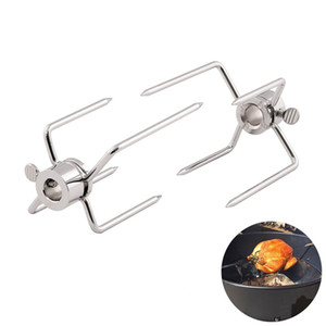 2pcs / set Rotisserie barbecue Forche in acciaio inox Spit barbecue Forks Charcoal Chicken Grill Rotisserie carne Forcella Strumento barbecue
