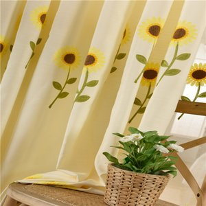 Factory Direct Wholesale Window Screen Idyllic Sunflower Screen Curtain Cotton Linen Towel Embroidery Cotton Linen Curtain